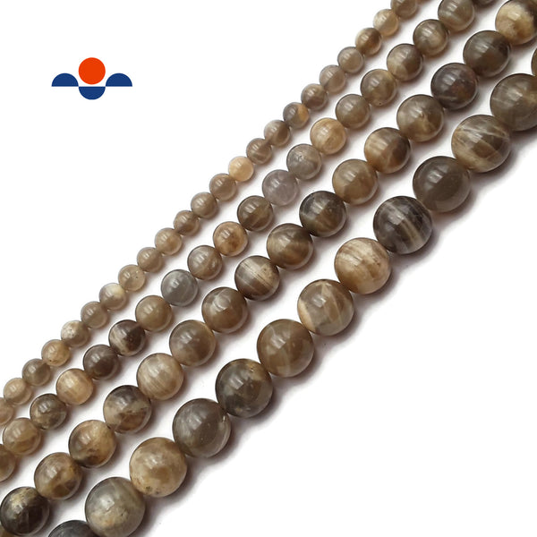 Gray Moonstone Smooth Round Beads Size 6mm 8mm 10mm 12mm 15.5'' Strand