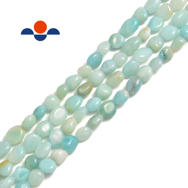 "Blue Green Amazonite Smooth Pebble Nugget Beads Approx 8x12mm 15.5"" Strand"