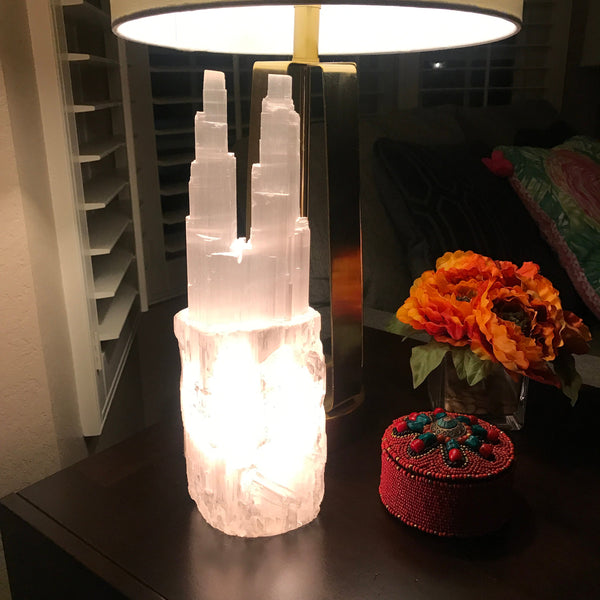natural selenite tower light lamp not included