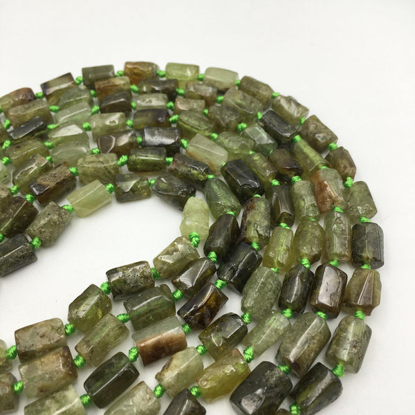 natural green garnet irregular tube beads
