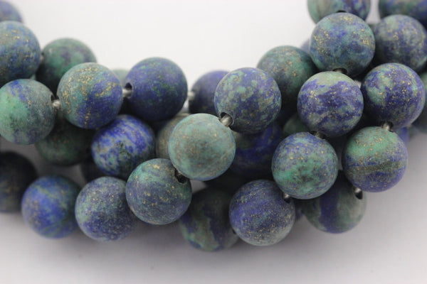 large hole chrysocolla matte round beads
