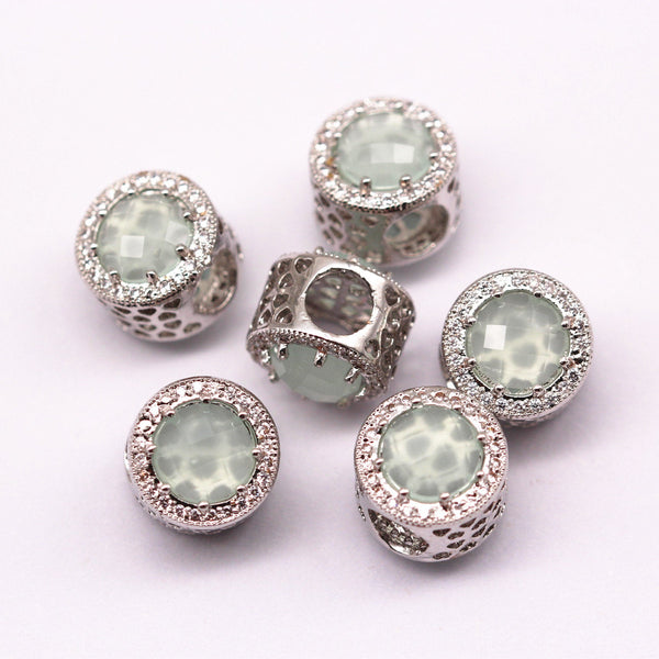 silver micro pave zircon light green synthetic zircon flat wheel charm