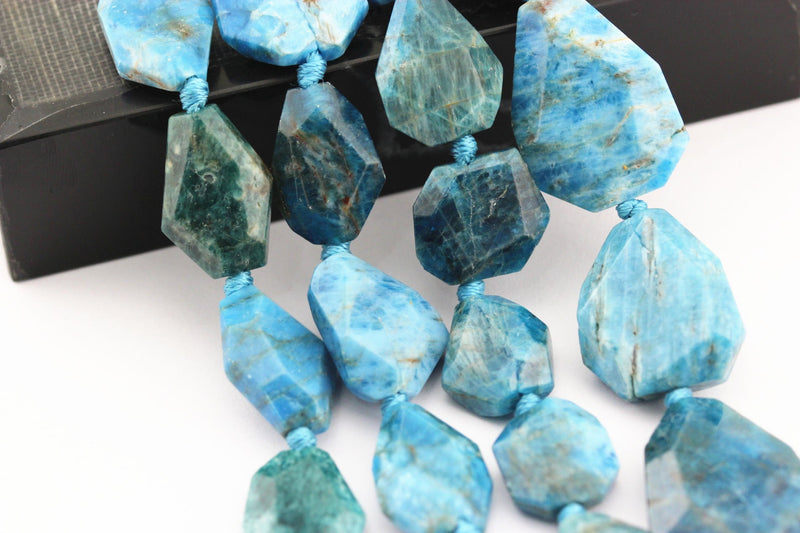 apatite irregular faceted octagon nugget chunk beads