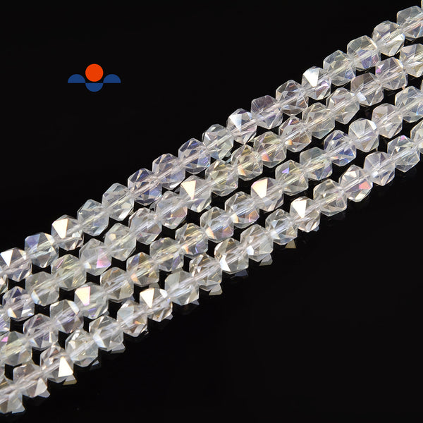 "Clear AB Crystal Glass Faceted Star Cut Round Beads Size 6mm 13"" Strand"