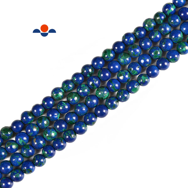 Lapis in Malachite Smooth Round Beads Size 6mm 15.5'' Strand