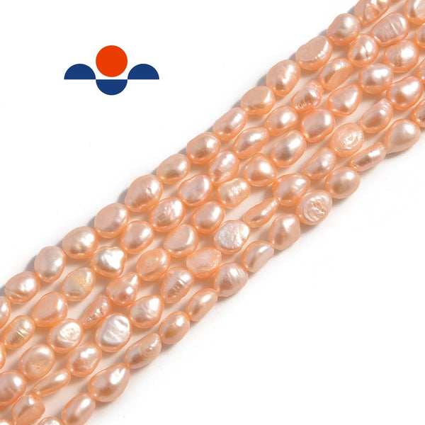 pink fresh water pearl side drill nugget beads