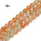 "Orange Splash Glass Beads Smooth Round Beads Size 14mm 15.5"" Strand"
