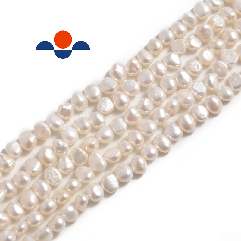 white fresh water pearl center drill nugget beads