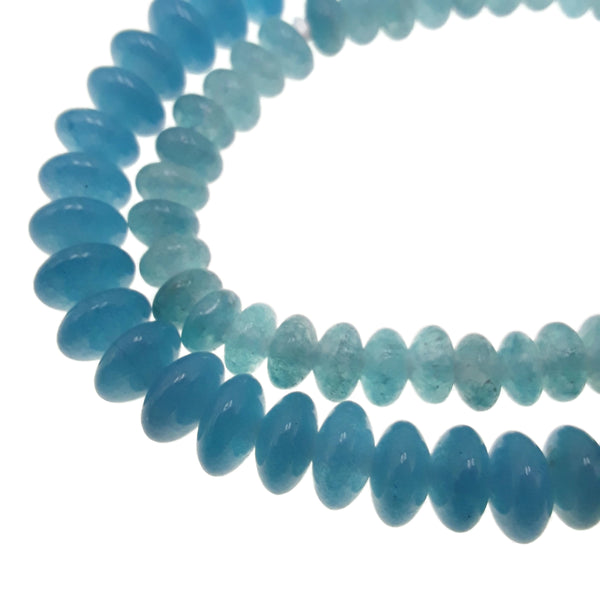 large hole blue sponge quartz smooth rondelle beads