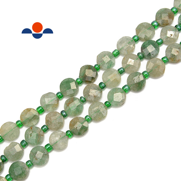 "Green Strawberry Quartz Faceted Flat Round Coin Beads Size 10mm 15.5"" Strand"