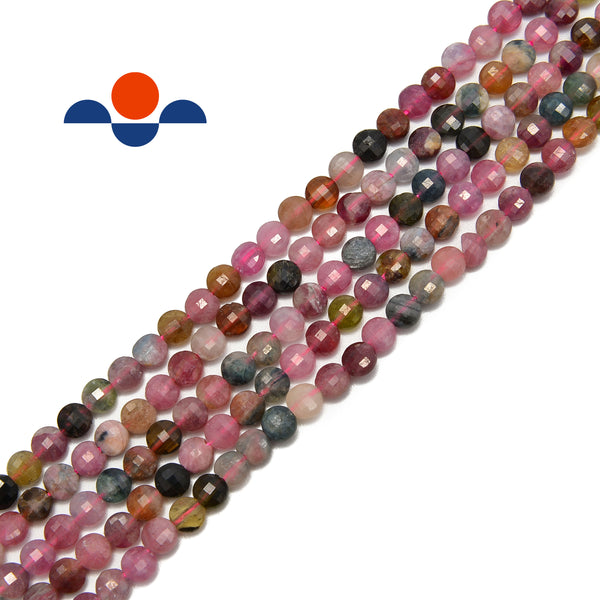 multi color tourmaline faceted flat beads