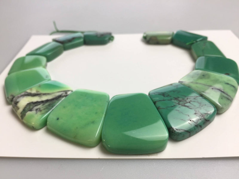 natural chrysoprase graduated trapezoid slab slice beads