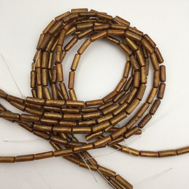 golden coral irregular round tube beads