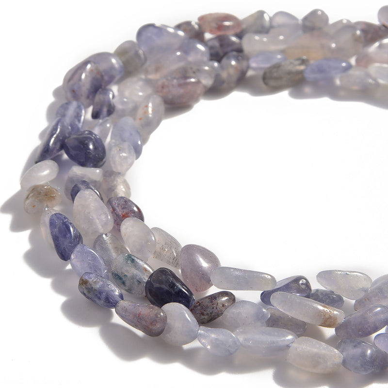 natural iolite side drill pebble nugget beads
