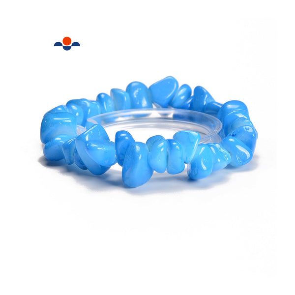 Light Blue Dyed Jade Pebble Nugget Elastic Bracelet Bead Size 7-17mm 7.5''Length