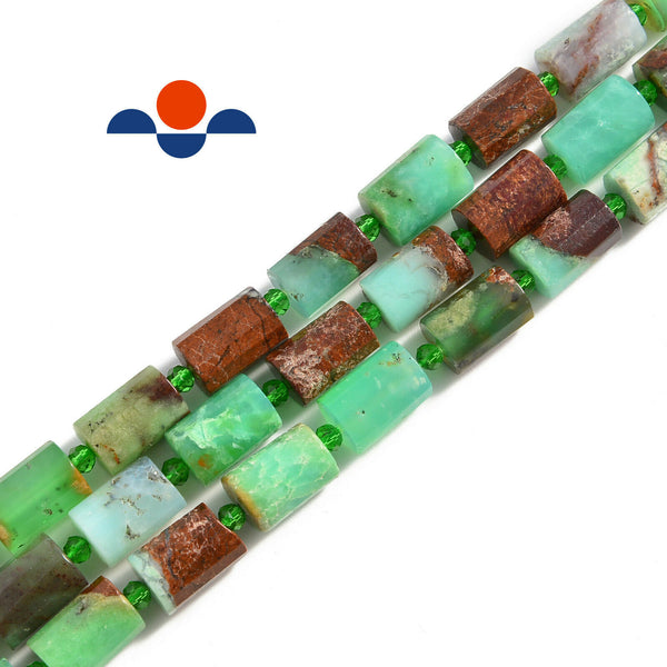 chrysoprase faceted cylinder tube beads