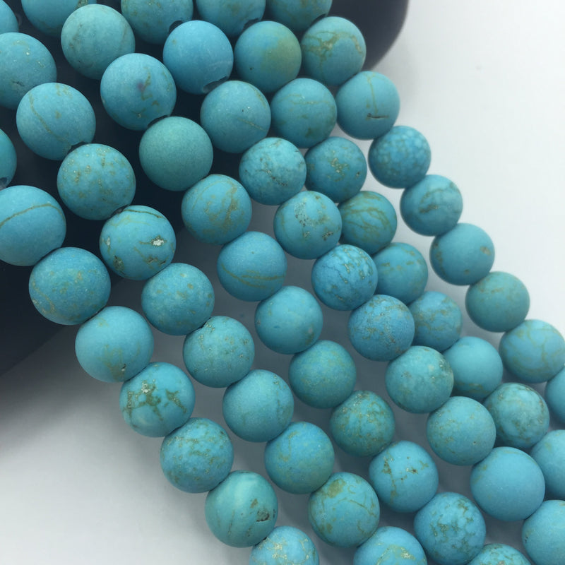 "2.0mm Hole Blue Turquoise Beads Matte Round Beads 6mm 8mm 10mm 15.5"" Strand"