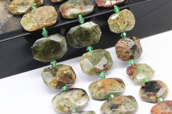 green garnet rectangle slice faceted octagon beads