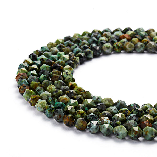 african turquoise faceted star cut beads