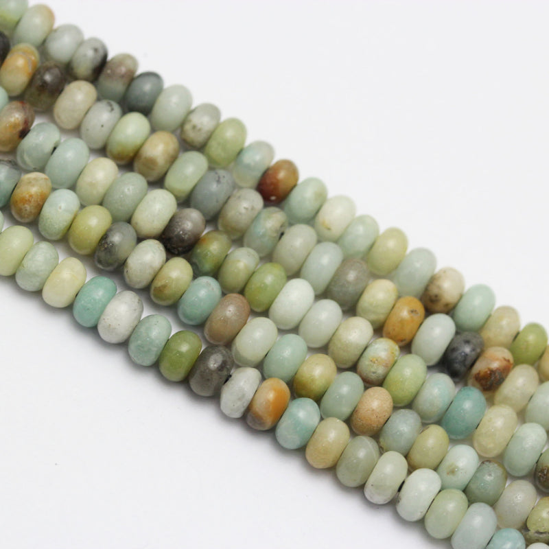 "2.0mm Hole Amazonite Smooth Rondelle Beads 5x8mm 6x10mm 8"" Strand"