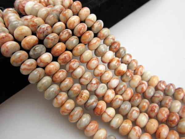 large hole red web jasper smooth rondelle beads