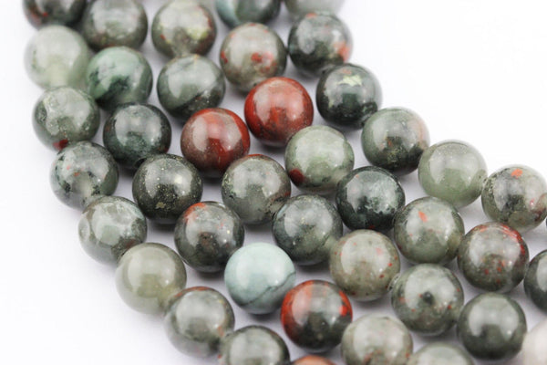 "2.0mm Hole African Bloodstone Smooth Round Beads 8mm 10mm 15.5"" Strand"