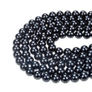 natural black jet smooth round beads