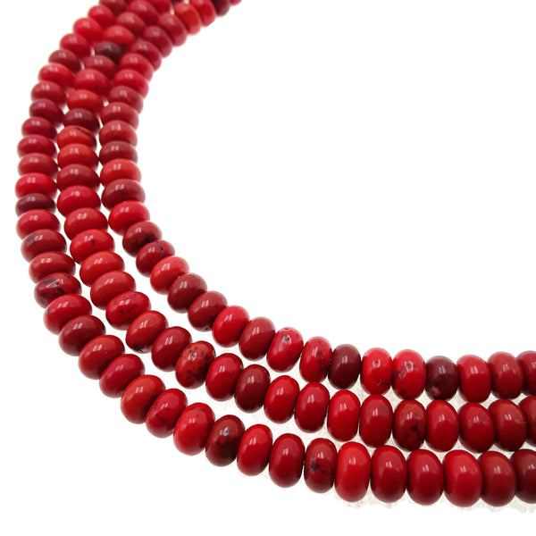 red magnesite turquoise smooth rondelle