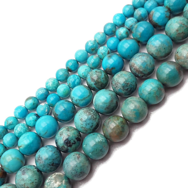 "Genuine Natural Turquoise Smooth Round Beads 5mm 6mm 7mm 8mm 9mm 10mm 15.5"" Strand"