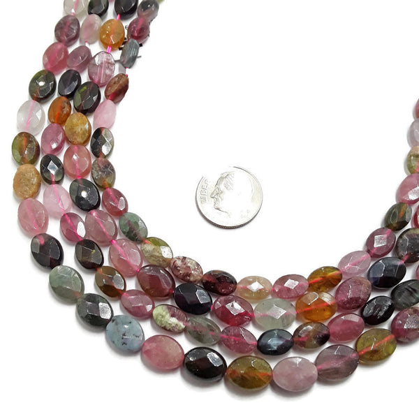 multi color tourmaline faceted oval beads