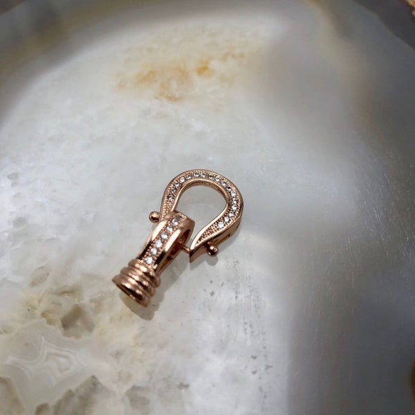 rose gold plated copper with micro pave clear zircon clasp