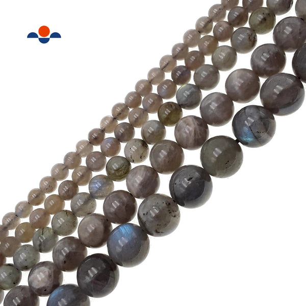 "Natural Labradorite Smooth Round Beads 4mm 6mm 8mm 9mm 10mm 12mm 15.5"" Strand"