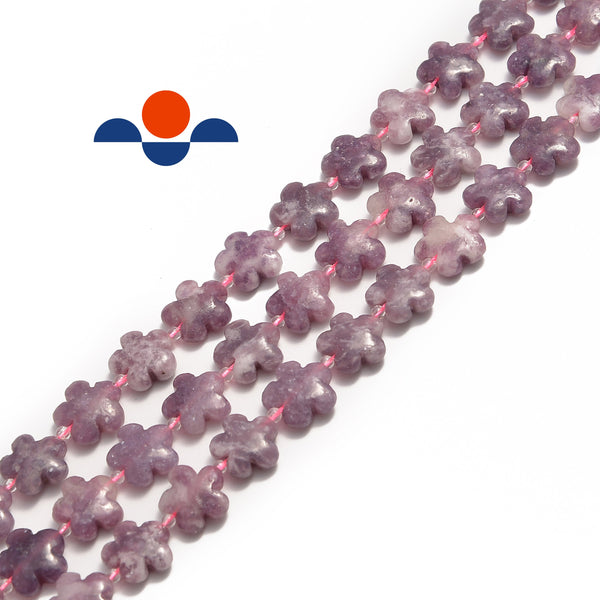 lepidolite flower shape beads