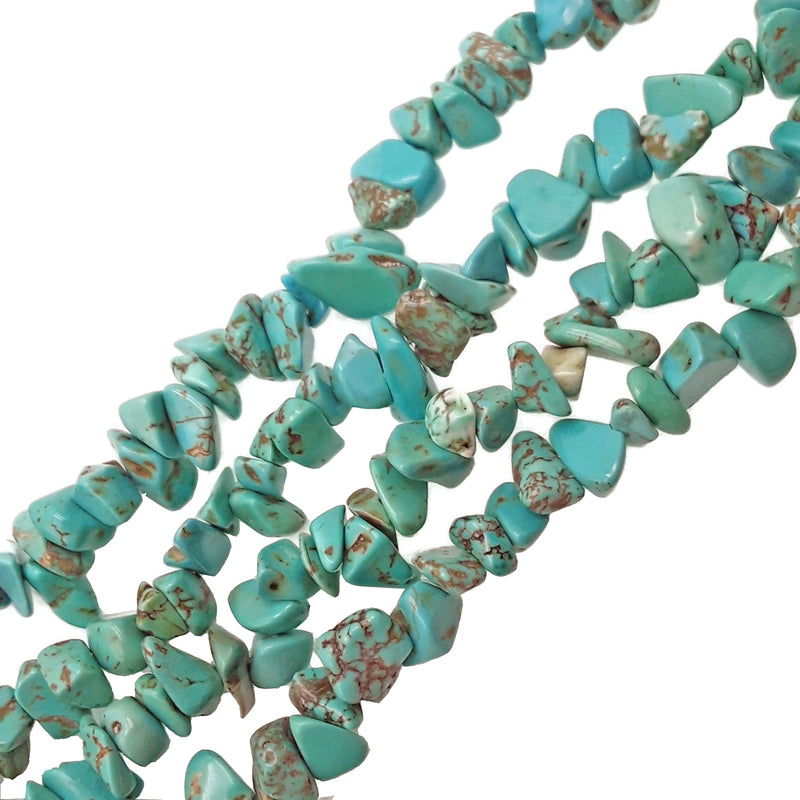 light blue green turquoise irregular nugget chips beads