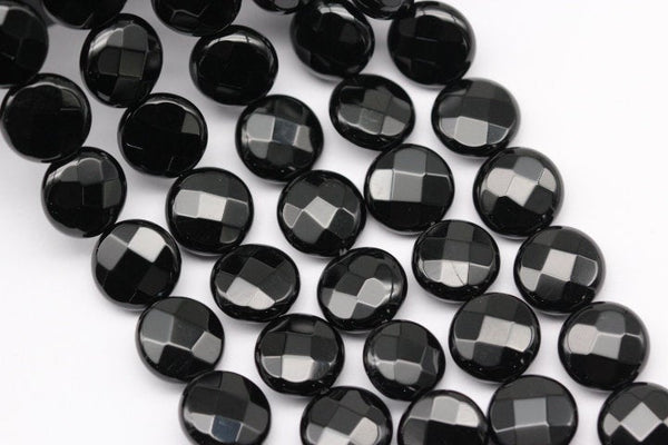 black onyx faceted codiscs beads