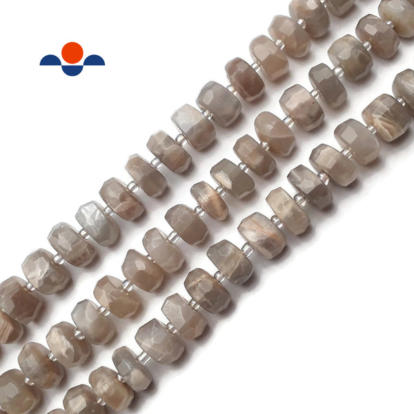 "Gray Moonstone Faceted Irregular Rondelle Wheel Beads Approx 8x12mm 15.5"" Strand"
