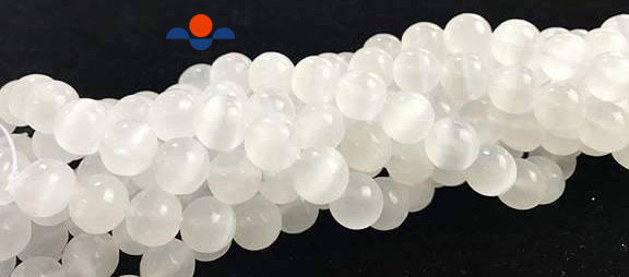 natural selenite smooth round beads