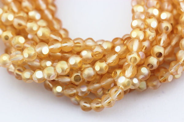 peach crystal glass faceted round beads
