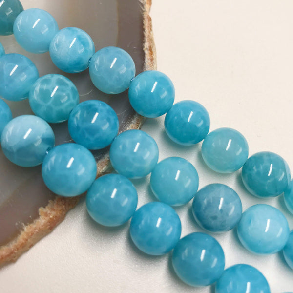 blue Crackled fire agate smooth round beads