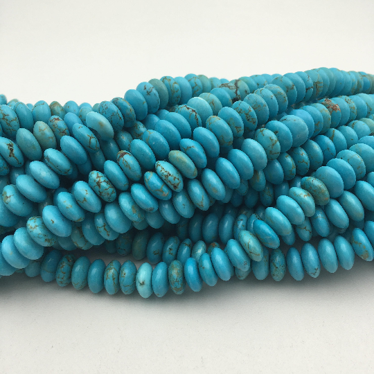 blue turquoise smooth rondelle discs