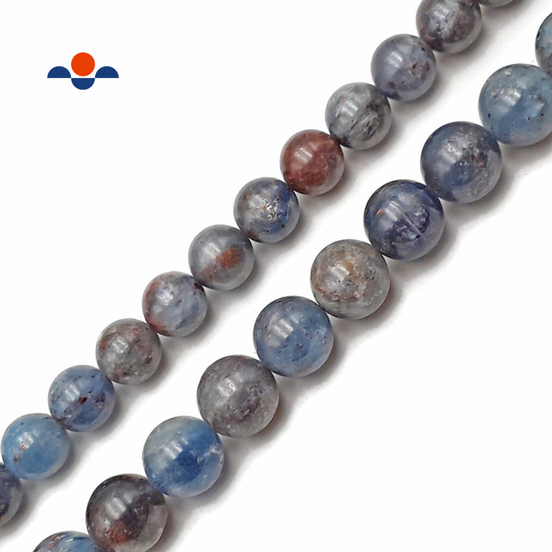 "Natural Light Blue Kyanite Smooth Round Beads 12mm 14mm 15.5"" Strand"
