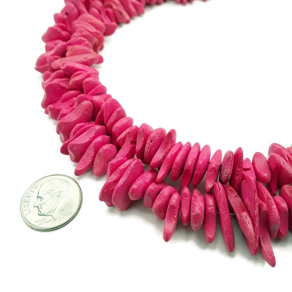 pink wooden flat irregular slice discs beads