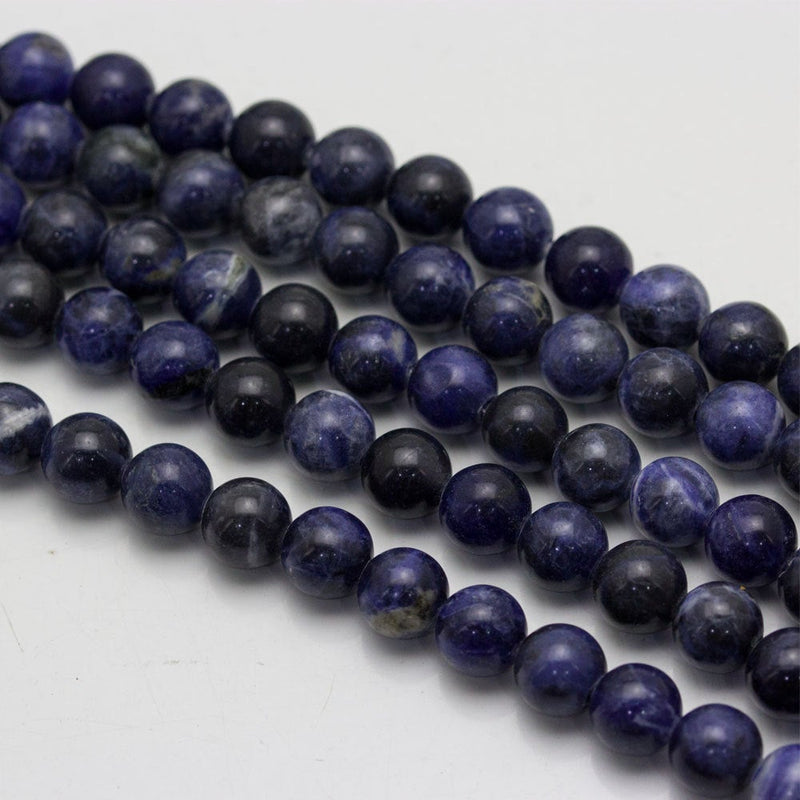 "2.0mm Hole Sodalite Smooth Round Beads 6mm 8mm 10mm 15.5"" Strand"