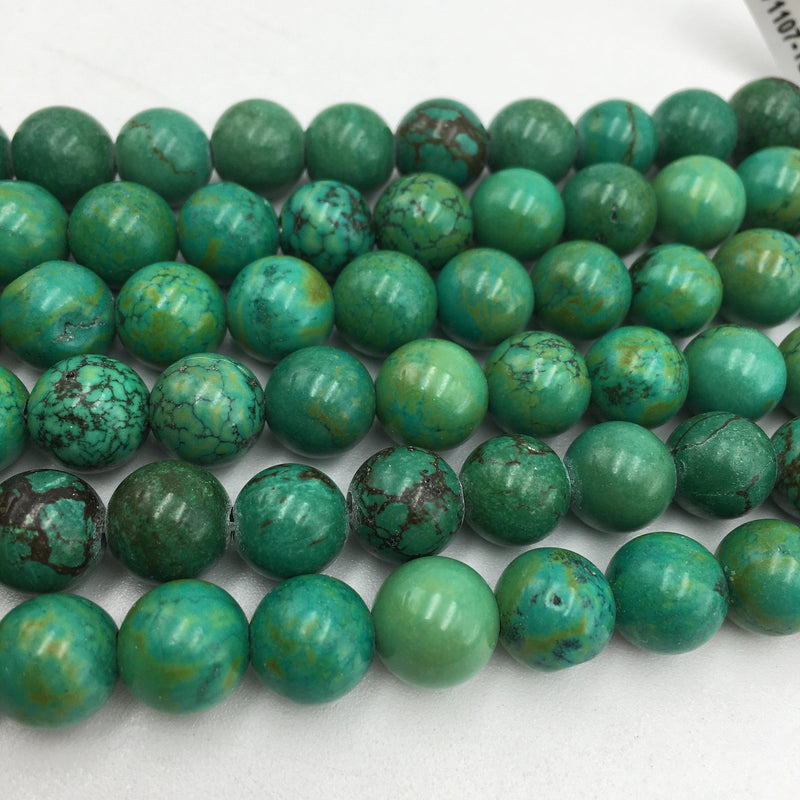 "2.0mm Hole Green Turquoise Smooth Round Beads 8mm 10mm 12mm 15.5"" Strand"