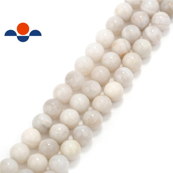 white agate smooth round beads