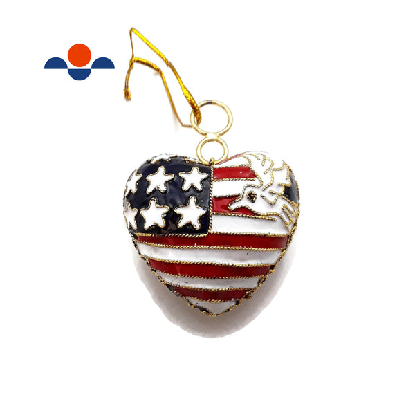 "Cloisonne Christmas Tree Ornament US American Flag Heart Shape 2.5"" Inches Tall"