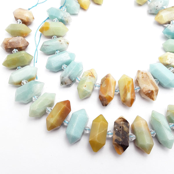 multi color amazonite center drill faceted points beads