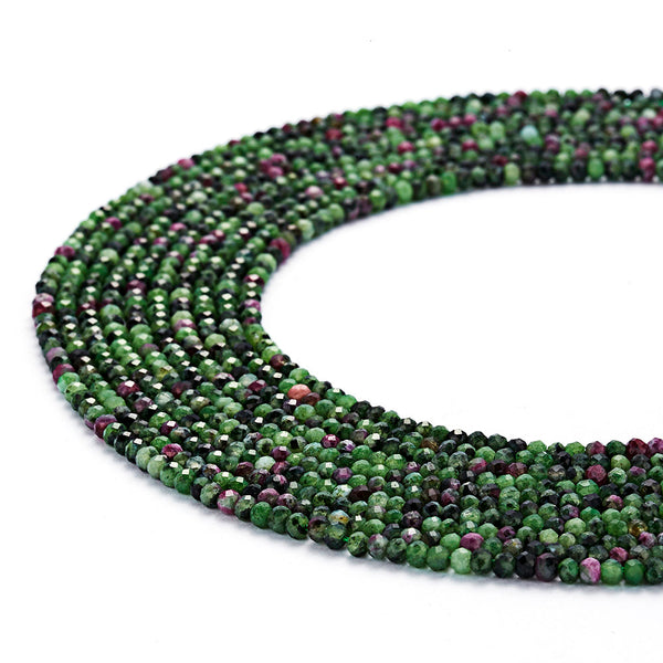 natural ruby zoisite faceted rondelle beads