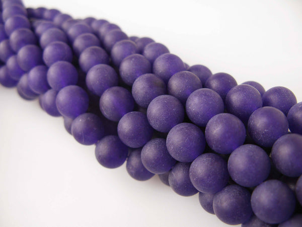 purple dyed jade matte round beads