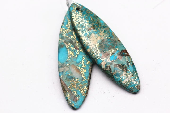 blue sea sediment jasper pendant oval